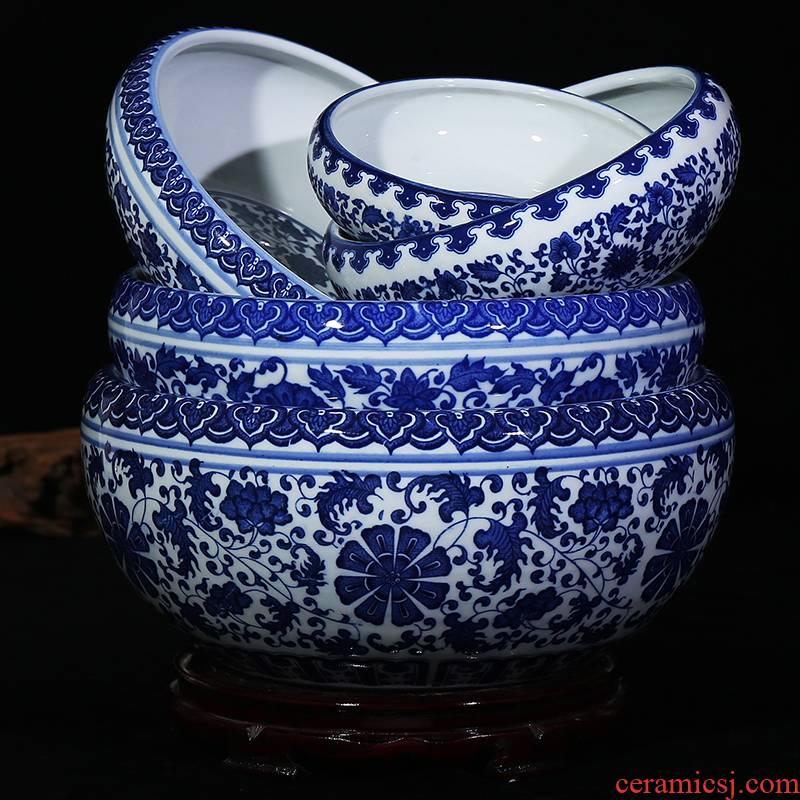 Jingdezhen blue and white ceramics gold fish tank water shallow tortoise cylinder ashtray pen XiCha washing handicraft furnishing articles in the living room
