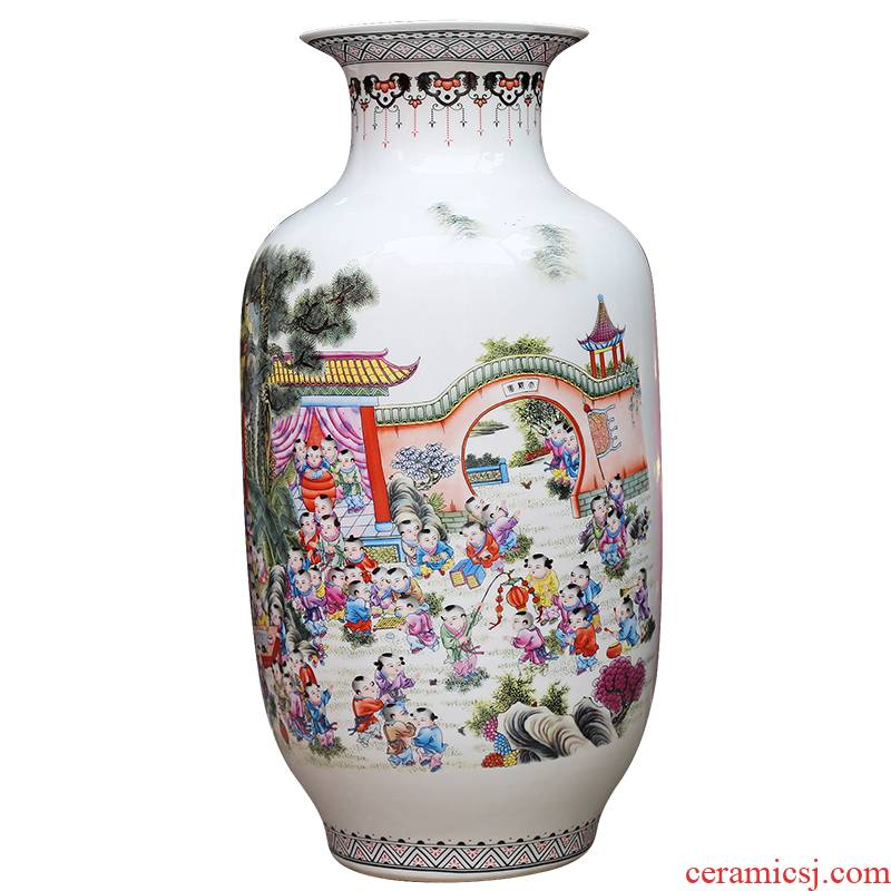 Jingdezhen ceramics powder enamel vase modern home sitting room adornment handicraft figure ground company in furnishing articles the ancient philosophers