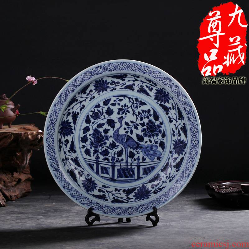 Yuan blue and white peacock jingdezhen ceramics grain hang dish household adornment handicraft furnishing articles sitting room decoration plate