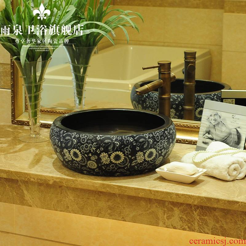 Spring rain ceramic basin of Chinese ink painting round table contracted sanitary ware art basin sink the lavatory basin