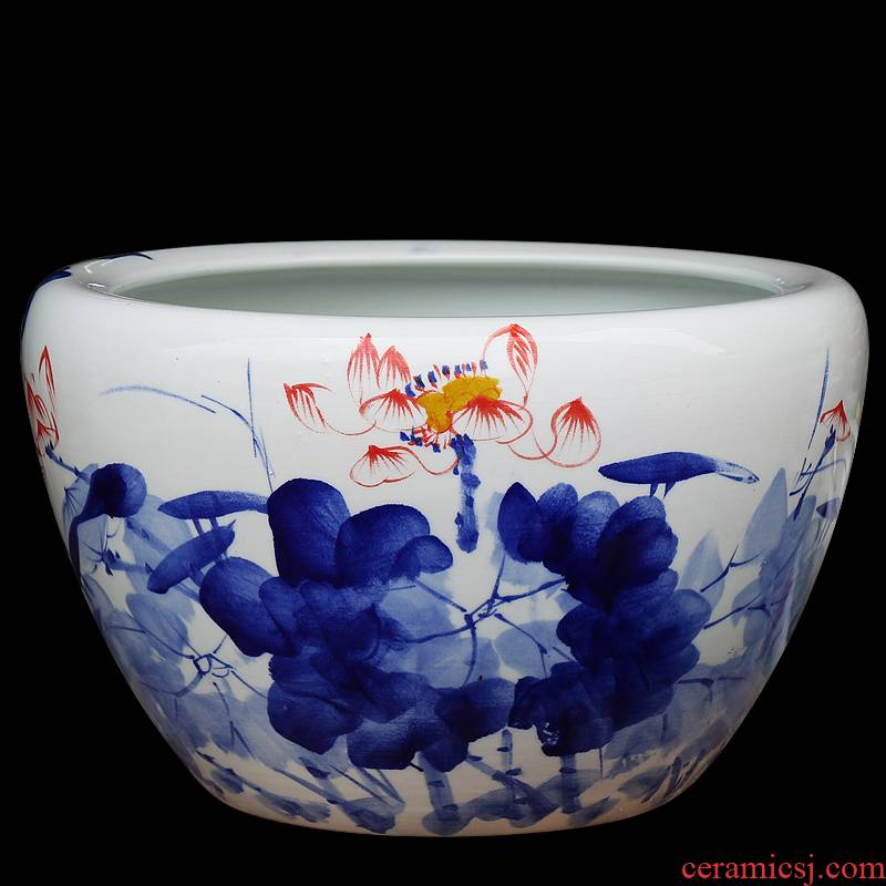 Hand - made porcelain of jingdezhen ceramics goldfish bowl lotus cylinder wind tortoise tank painting cylinder furnishing articles in the living room