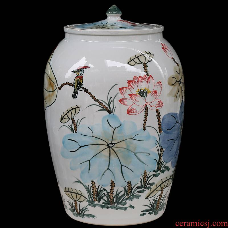 Jingdezhen ceramics large hand - made seal pot sitting room place candy jar household act the role ofing is tasted barrel storage tank