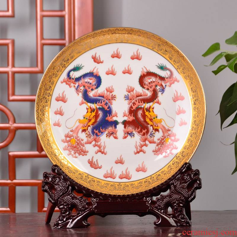 St19 jingdezhen ceramics decoration plate hanging dish see dragon playing bead home crafts gift of furnishing articles