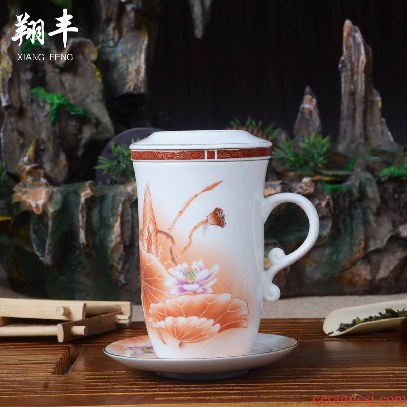 Xiang feng ceramic cups of a complete set of conference glass tea set filter cups with cover kung fu office