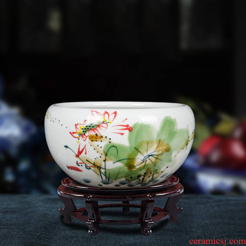Z045 jingdezhen ceramic aquarium hand - made small goldfish turtle cylinder water lily basin water shallow fish bowl lotus lotus
