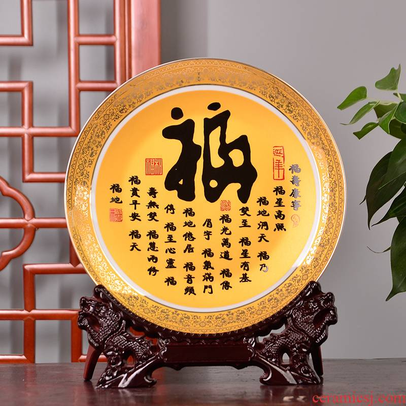 PLATE018 jingdezhen ceramics decoration plate hang dish see colour f modern home handicraft furnishing articles