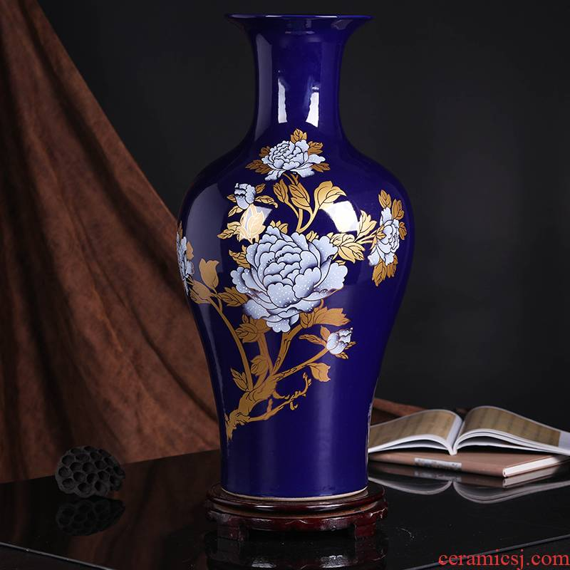 Jingdezhen ceramics landing a large vase peony sitting room of Chinese style household decoration craft a new home furnishing articles
