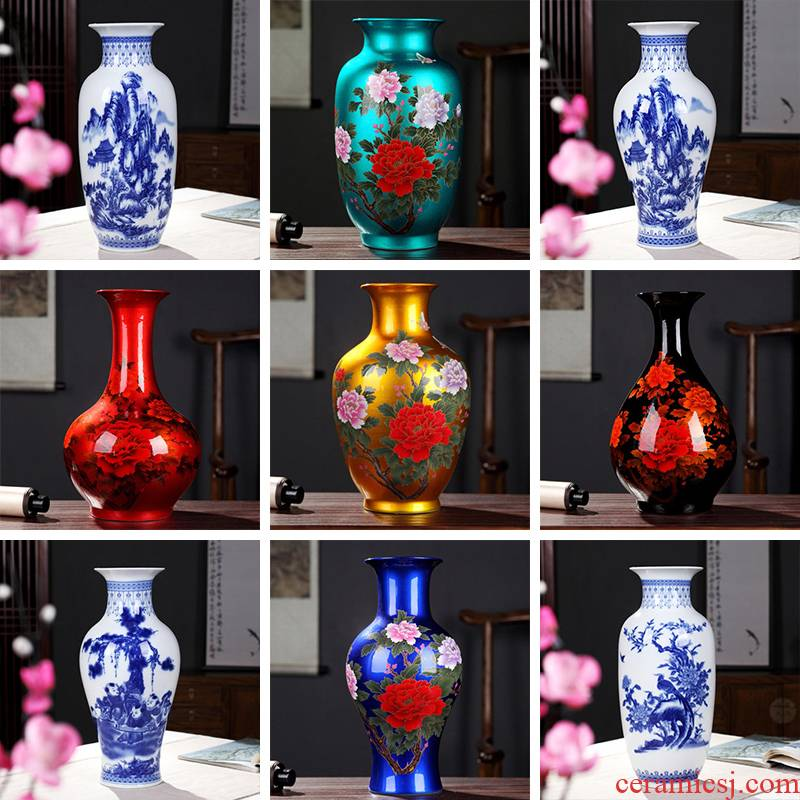 Jingdezhen ceramics blue and white porcelain vase furnishing articles sitting room flower arrangement bedroom office lucky bamboo decorative arts and crafts