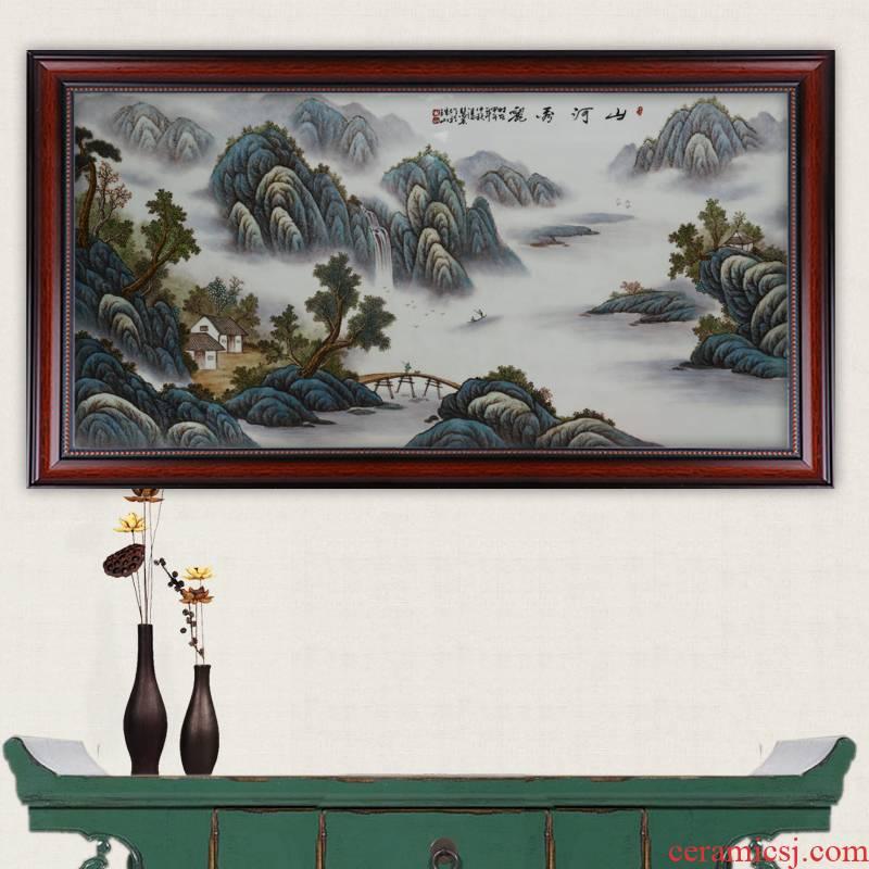 Celebrity famous jingdezhen ceramics powder enamel hand - made pieces xiuse crafts porcelain plate painting murals sitting room