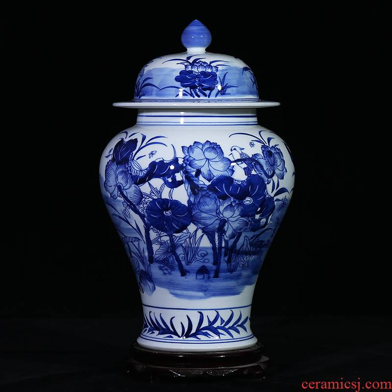 Jingdezhen blue and white lotus ceramics general storage tank can candy jar sealed as cans sitting room place, household act the role ofing is tasted