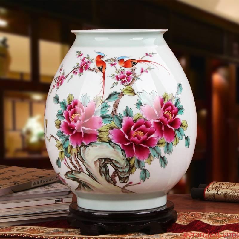 Famous Xia Guoan jingdezhen ceramics vase upscale gift hand famille rose porcelain vase peony pay-per-tweet