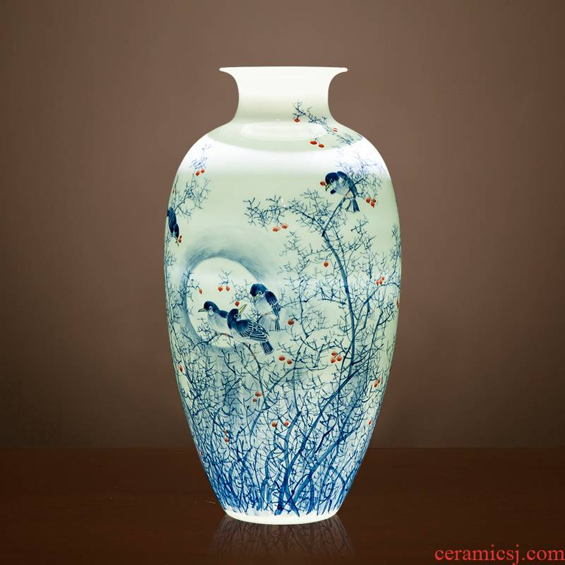 Jingdezhen ceramic masters hand draw Chinese blue and white porcelain vase furnishing articles of Chinese style decoration decoration large living room