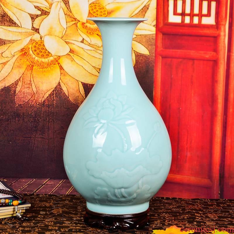 Cb53 jingdezhen ceramics shadow blue glaze antique vases, flower receptacle Chinese handicraft furnishing articles home sitting room adornment