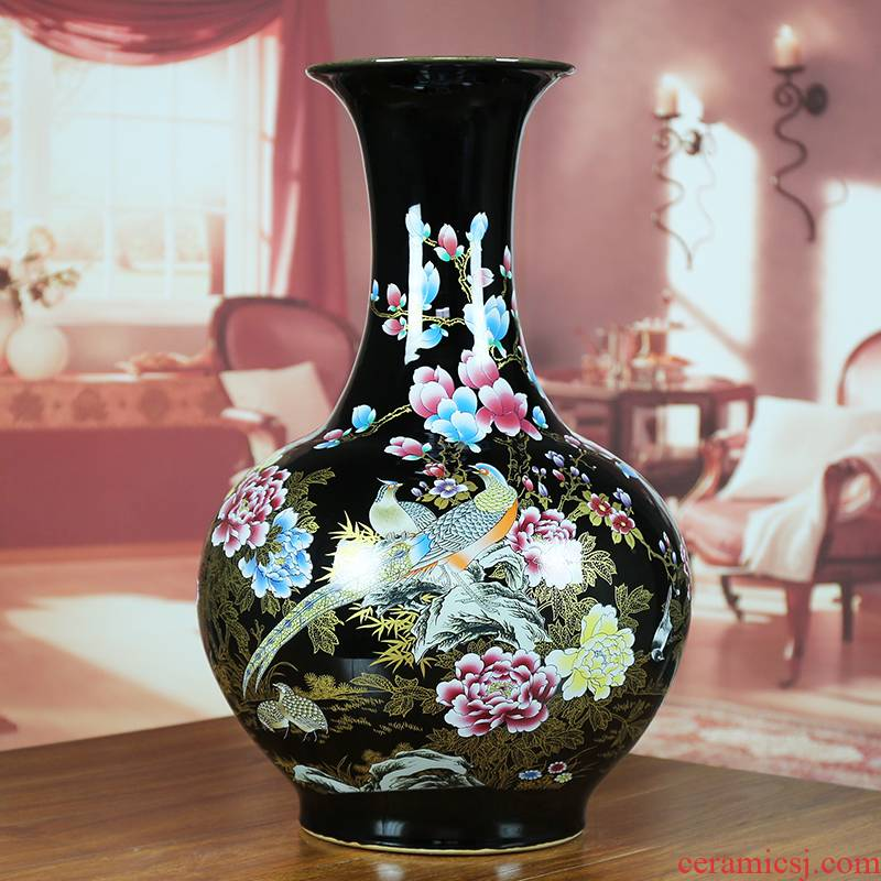 Jingdezhen ceramic vase sharply glaze painting of flowers and modern home sitting room hotel company contracted classic Chinese style furnishing articles