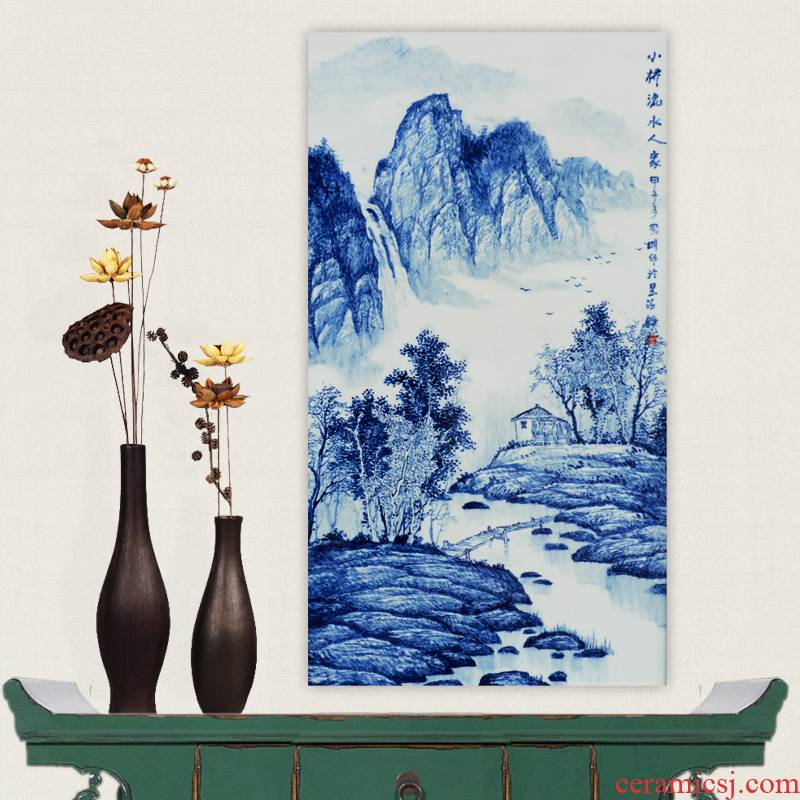 Jingdezhen ceramics hand - made Bridges the somebody else of blue and white porcelain porcelain masterpieces by famous writers partition painting the living room to the process