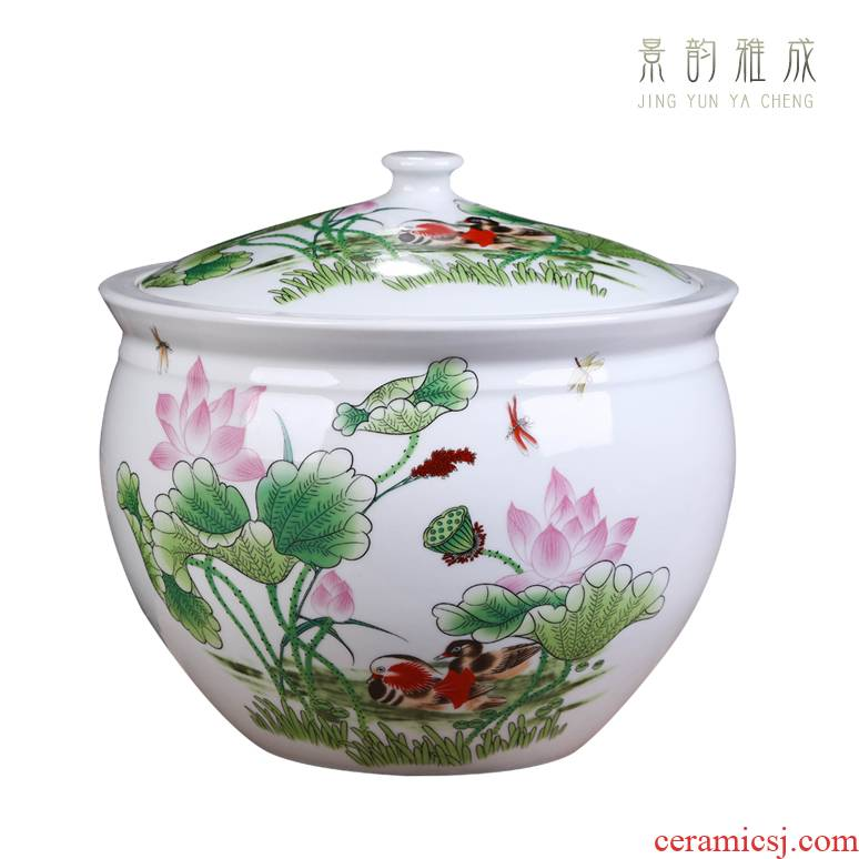 Jingdezhen ceramics with cover decoration storage tank meters large creative new Chinese style jar jar airtight jar of porcelain