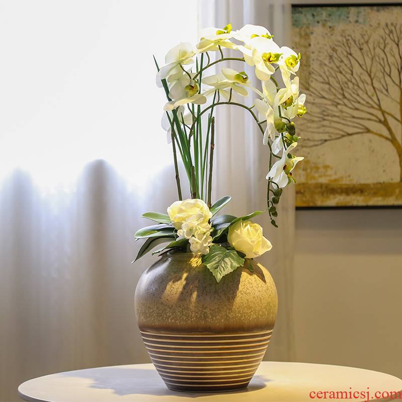 Jingdezhen mesa of new Chinese style suit flower vase simulation contracted creative TV ark, flower receptacle furnishing articles