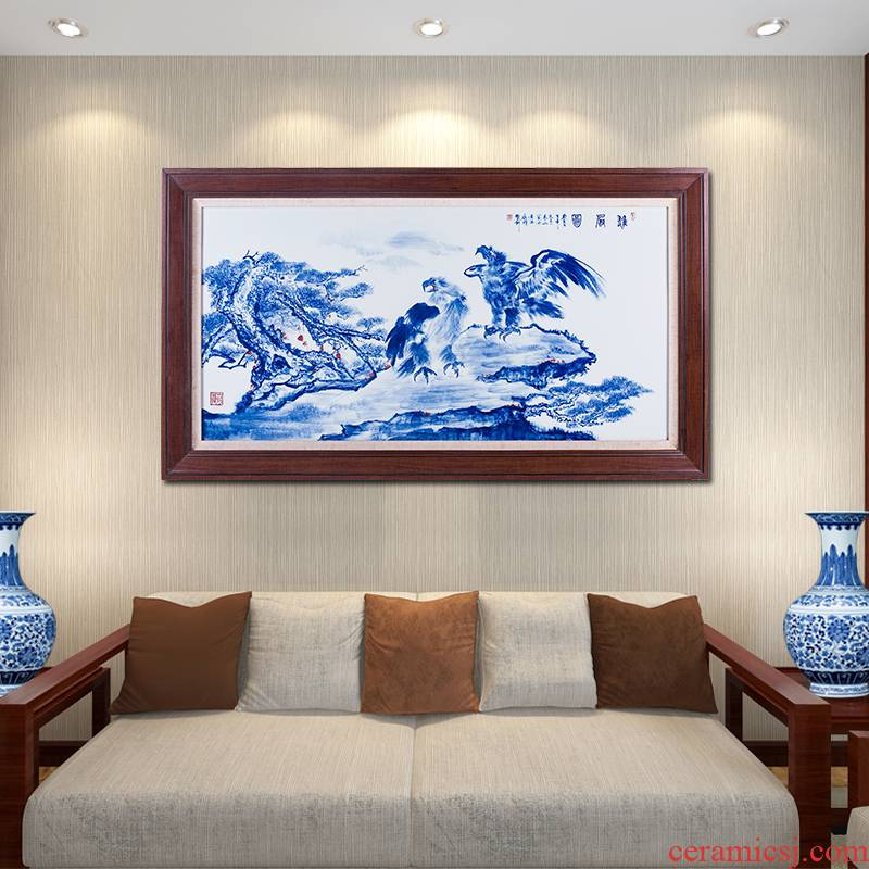Hand made blue and white porcelain plate painting unfolds the office decoration of Chinese style living room sofa setting wall hang a picture