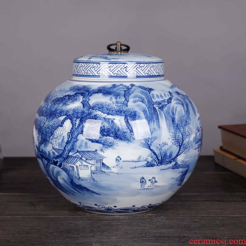 Jingdezhen blue and white landscape complete ceramic pot home furnishing articles sitting room TV ark, porcelain decoration