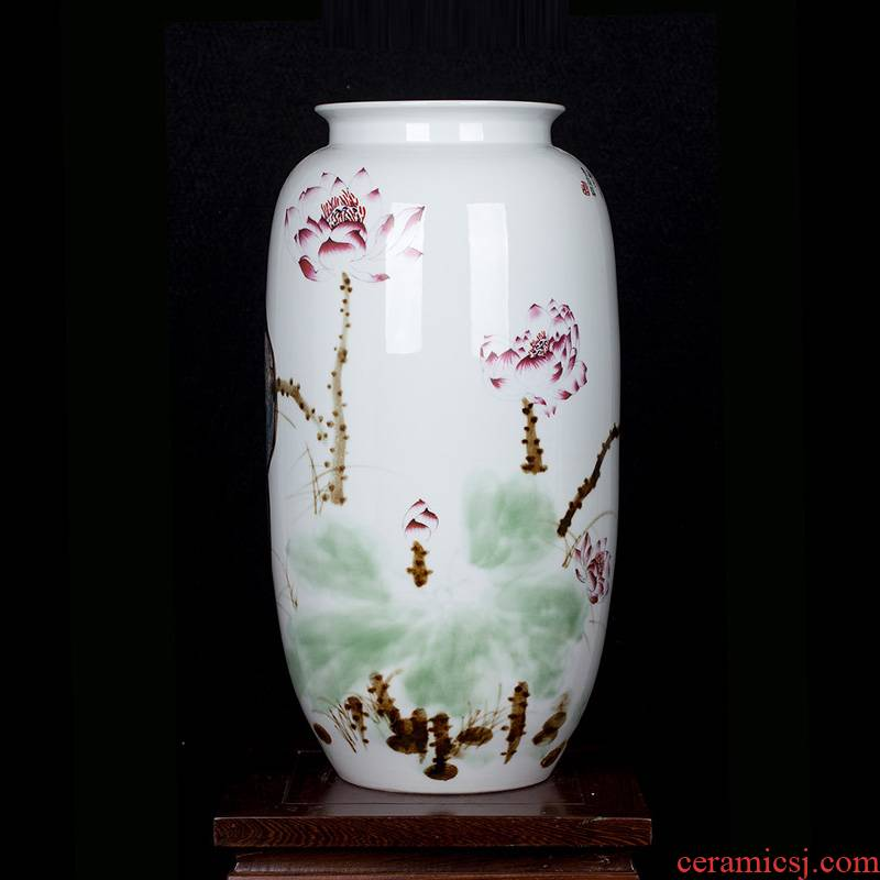 Jingdezhen ceramic hand - made lotus flower vase of new Chinese style household living room TV ark adornment furnishing articles