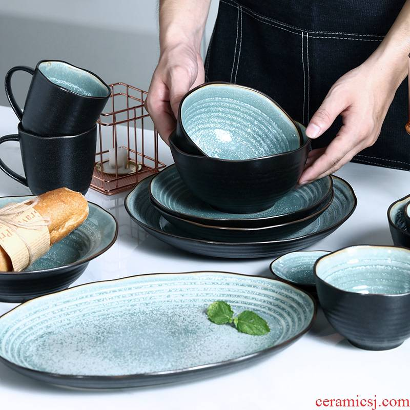 Japanese ceramic bowl retro household jobs new irregular plates creative snack plate large fish dish