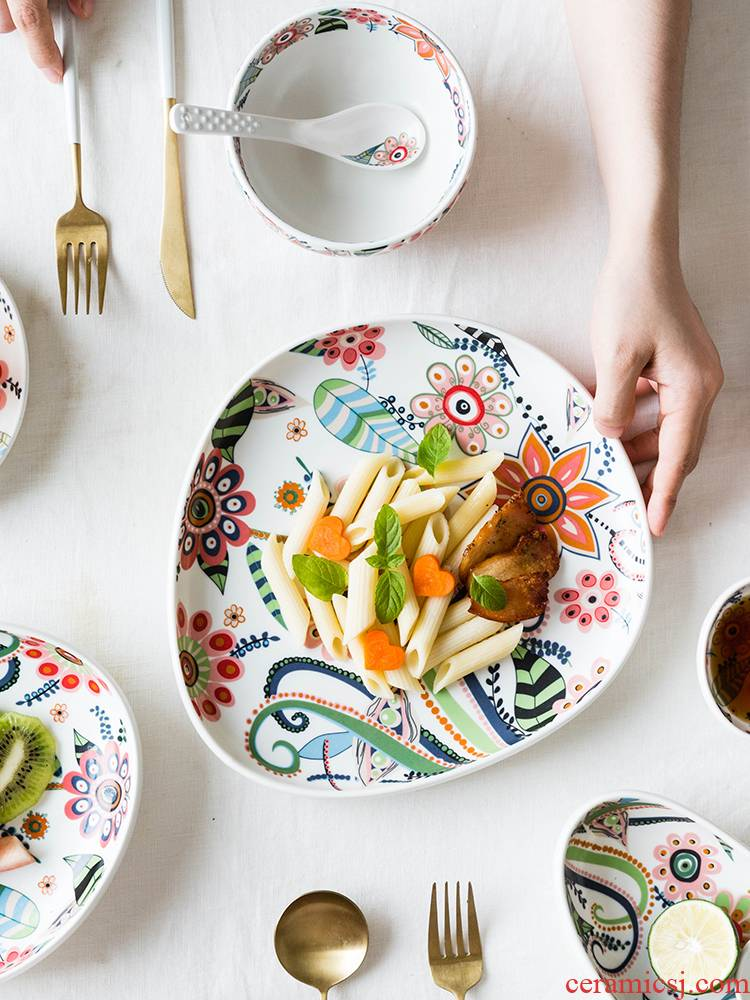 Modern housewives the plants flower glaze with handle disc ceramic beefsteak snack plate of creative household fruit bowl