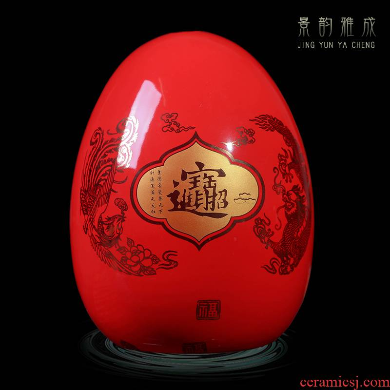 Jingdezhen ceramic rich red wine rack egg ornament act the role ofing is tasted furnishing articles of handicraft feng shui creative living room
