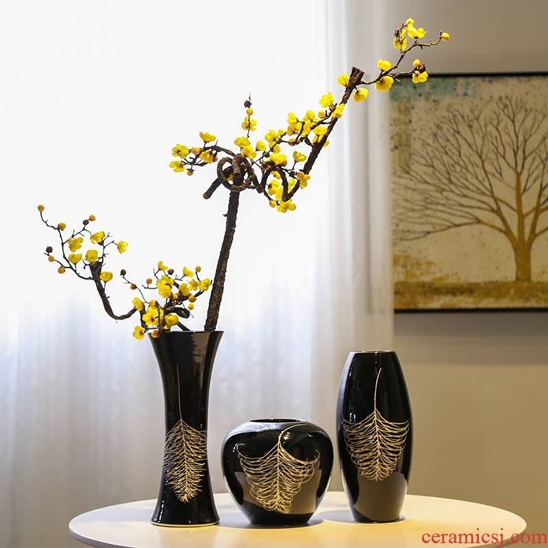 Jingdezhen ceramic vase creative contracted sitting room mesa adornment flowers flower implement big move black feathers furnishing articles