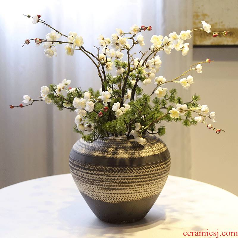 Mesa of jingdezhen coarse pottery vase simulation flower retro nostalgia pottery decoration decoration flower flower implement furnishing articles to the living room