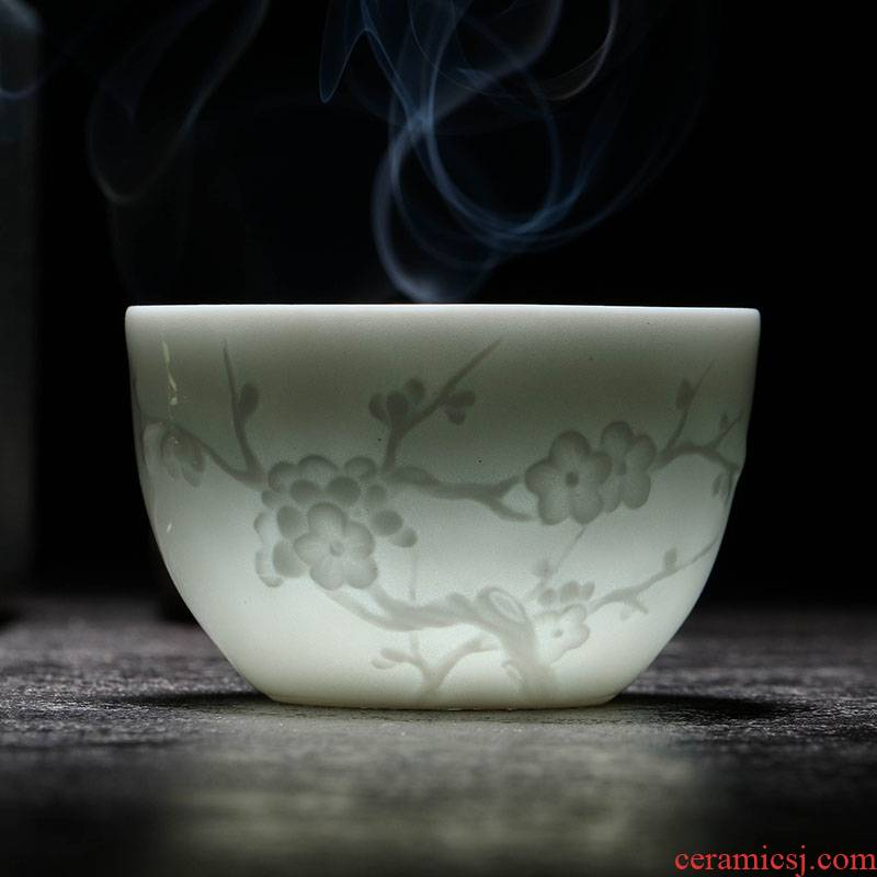 The Sample tea cup of jingdezhen ceramic kung fu tea set shadow blue small master cup single cup tea cups to build by patterns