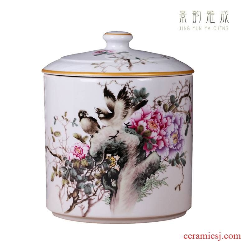 Jingdezhen ceramic blooming flowers storage tank is a large sitting room general storage POTS decorative porcelain furnishing articles