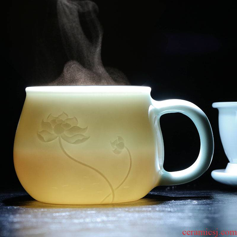 Catalpa xin jingdezhen ceramic filter cups with cover home tea cup hand - made glass carving shadow celadon office