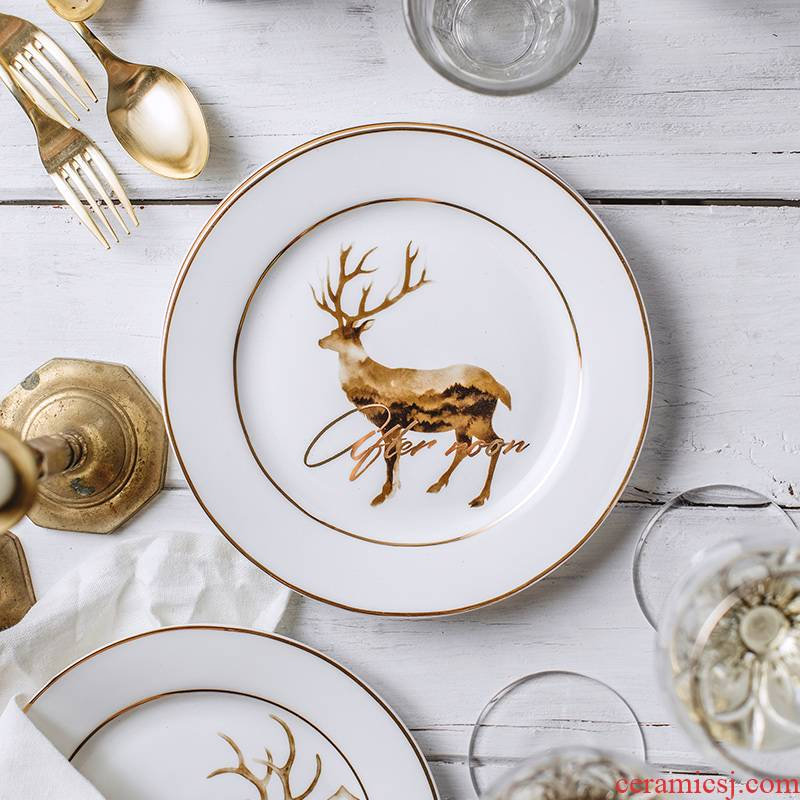 Lototo the original ceramic does the fawn dessert salad bowl dish plate of creative arts plates plate plate breakfast tray