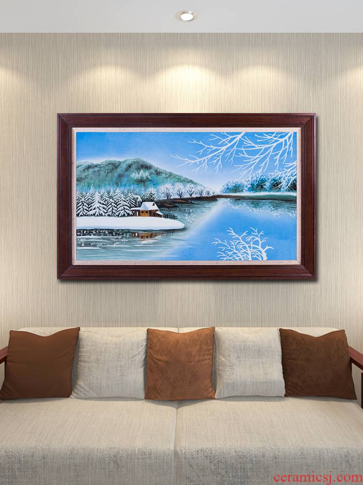 Jingdezhen lake snow porcelain plate painting Chinese landscape painting of the new Chinese style villa sitting room adornment restaurant hang a picture
