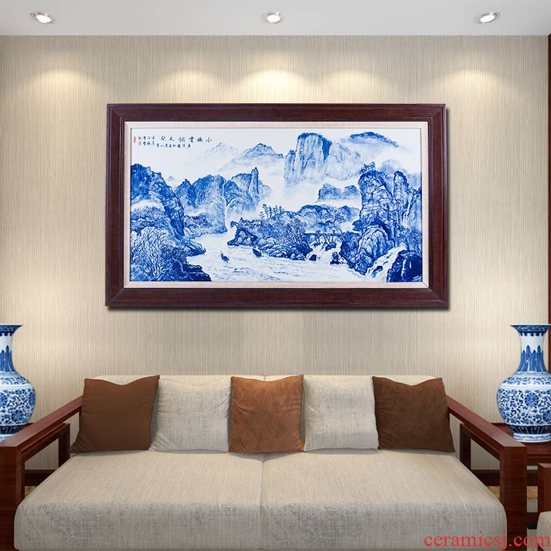 New Chinese style villa landscape sitting room adornment picture hanging style water jingdezhen ceramic hand - made of blue and white porcelain plate painting