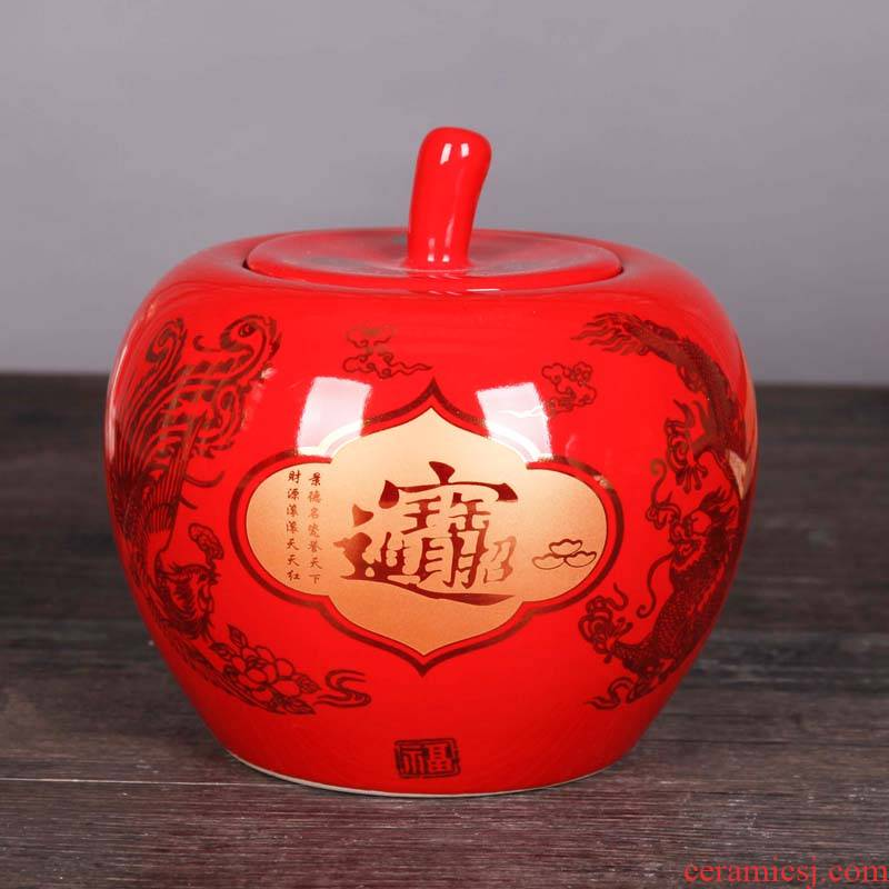 Jingdezhen ceramics China red apple storage tank general living room TV cabinet porcelain household act the role ofing is tasted furnishing articles