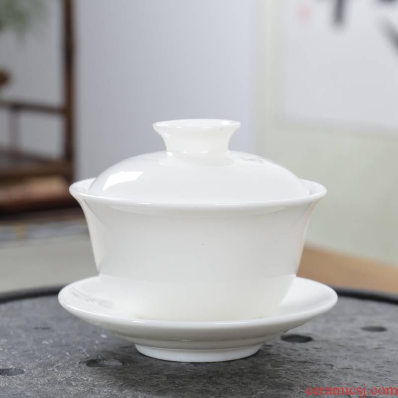 Household dehua white porcelain tea tureen only three bowls of ceramic cups to kung fu tea set white porcelain tea sea interface. A cup of tea