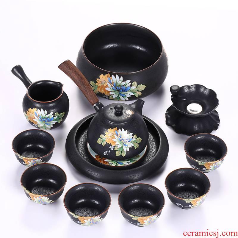 Friends is a complete set of Japanese kung fu tea set of household ceramic tea set the teapot teacup GaiWanCha XiCha hai pot of bearing