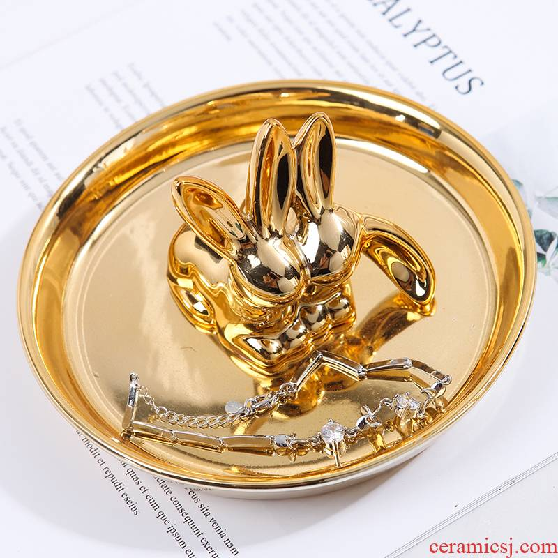 Nordic contracted golden rabbit disc creative receive plate decoration plate ceramic jewelry dresser plate antlers gold furnishing articles
