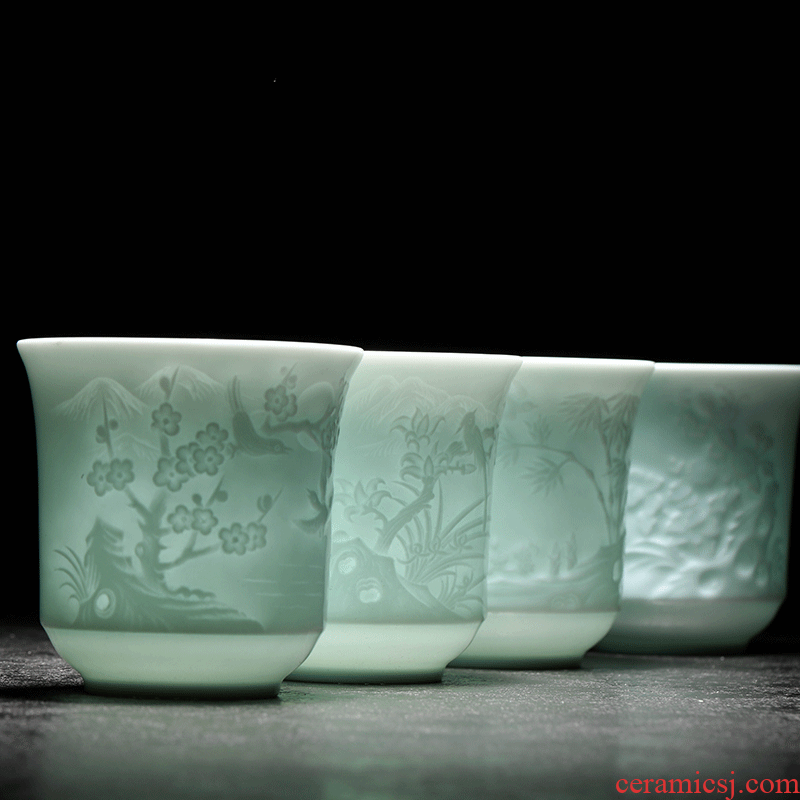 Catalpa xin sample tea cup kung fu master of jingdezhen ceramic tea set celadon cups of single CPU to build small tea cups