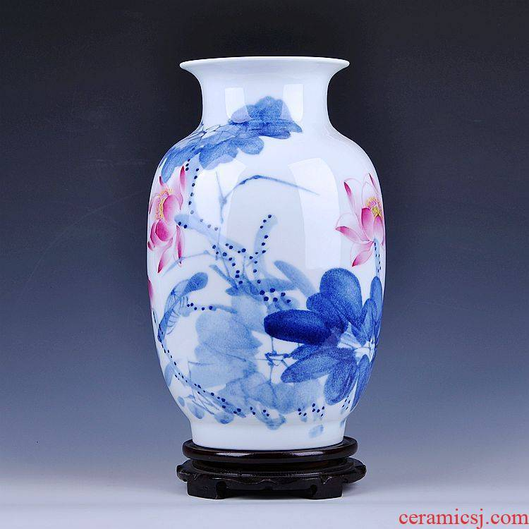 Jingdezhen ceramics famous masterpieces hand - made idea gourd vase of blue and white porcelain lotus rhyme collection certificate