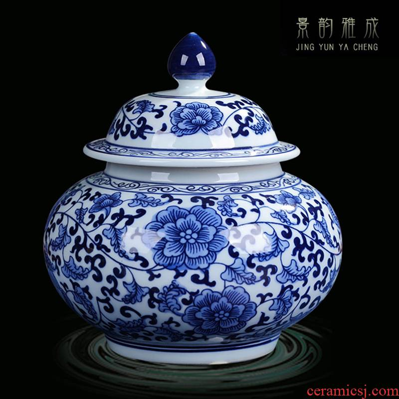 Jingdezhen ceramic POTS sub storage tank is small household caddy fixings meters can receive porcelain jar with cover