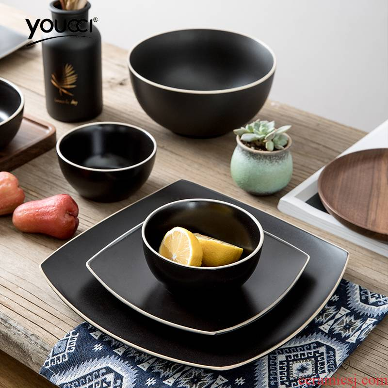 Contracted Japanese - style tableware rice bowl dish plate household ceramic plate salad bowl such as bowl of soup bowl, square plate, square plate