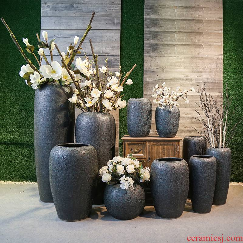 Jingdezhen retro nostalgia of large POTS coarse pottery vases, flower decoration to the hotel garden flowers in the living room furnishing articles