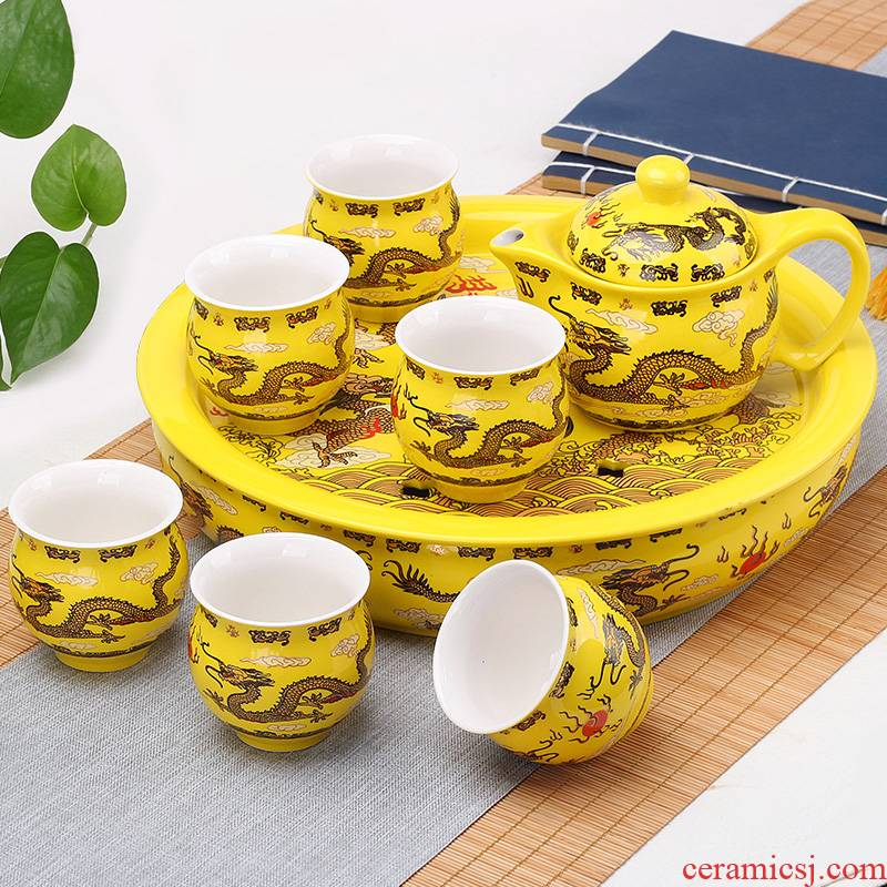 Leopard lam, ceramic kung fu tea set tea tray household saucer plate of small tea table storage contracted simple small tea sea