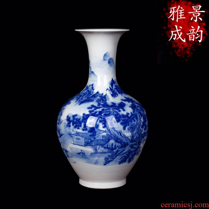 Jingdezhen blue and white landscape ceramic vase furnishing articles household act the role ofing is tasted, the sitting room porch TV ark adornment porcelain