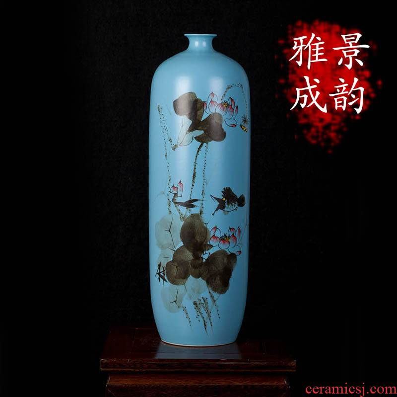 Jingdezhen ceramic checking porcelain vase TV ark, furnishing articles household act the role ofing is tasted, the sitting room porch TV ark, adornment