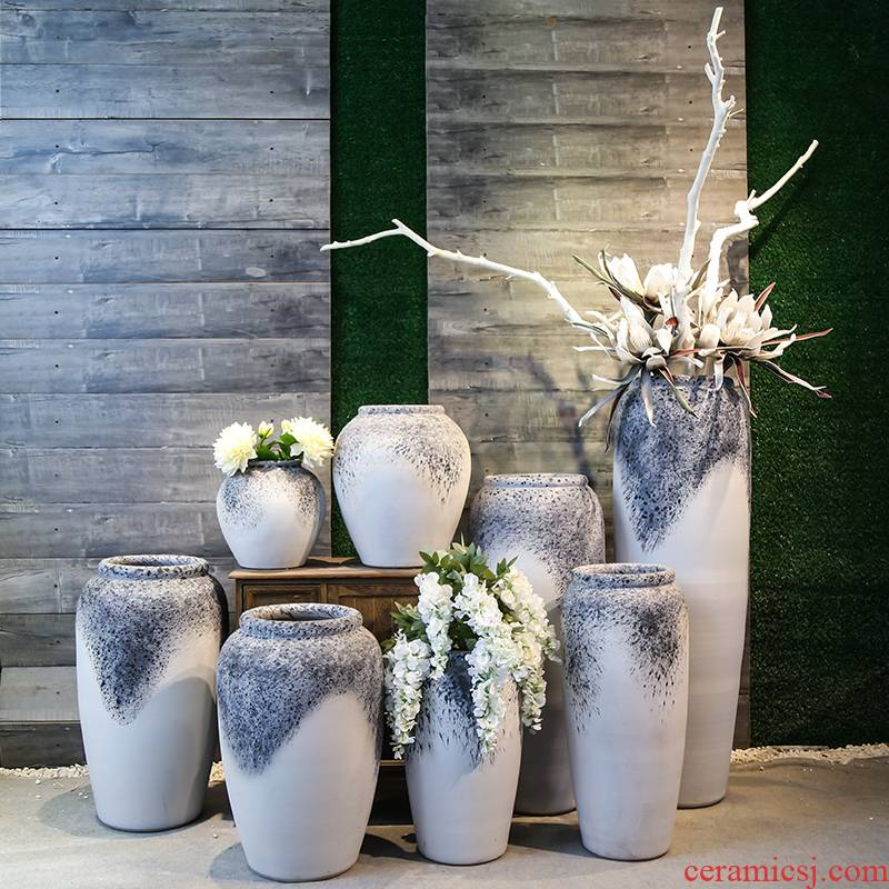 Jingdezhen coarse clay ceramic pottery vases, flower, flower implement ceramic restoring ancient ways furnishing articles be born between sitting room chamber model