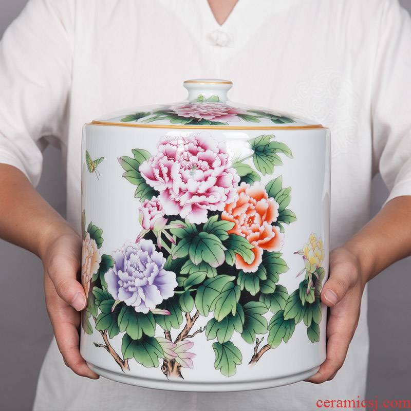 Jingdezhen ceramic furnishing articles household act the role ofing is tasted sealed tank storage jar of new Chinese style household storage tanks porcelain jar