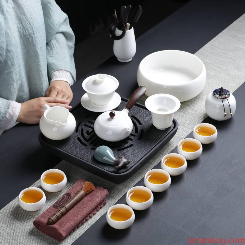 Tea set dehua white porcelain kung fu Tea set home sharply stone Tea tray of a complete set of Tea ware ceramic lid bowl